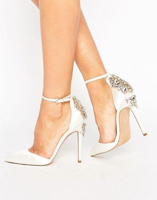 Click To Buy Aidocrystal Sweet Pointed Toe High Heels 2017 New Spring Summer Diamond Heel Shoes Women Sandals Ankle Strap Bridal Heels Bride Shoes Heels