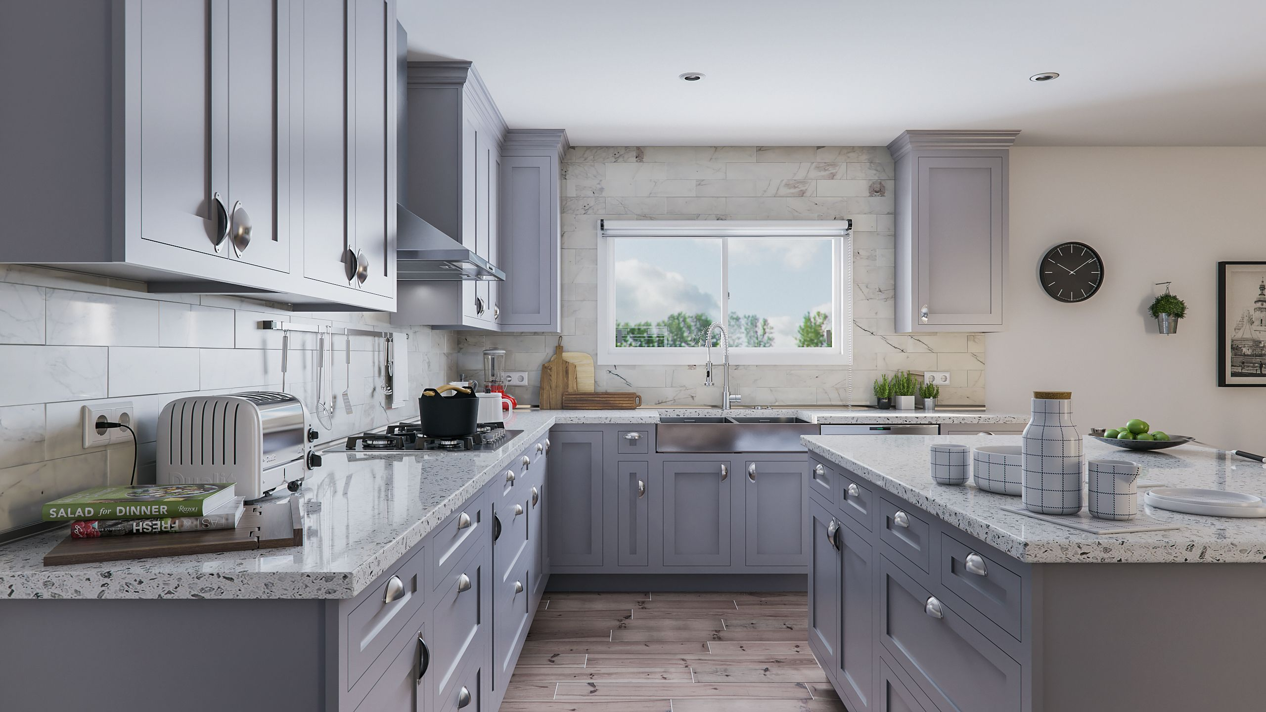 blue gray cabinets