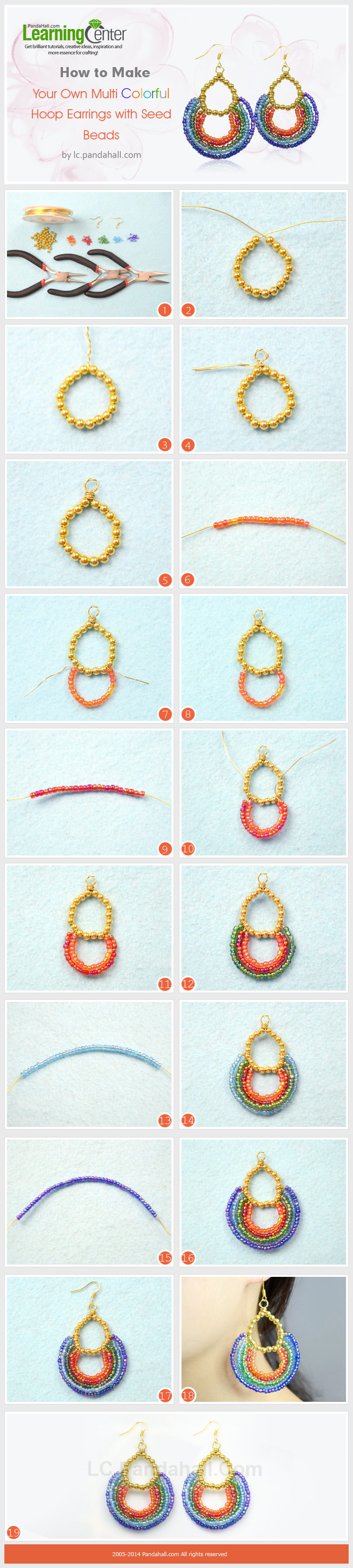 How to Make Your Own Multi Colorful Hoop Earrings with Seed Beads