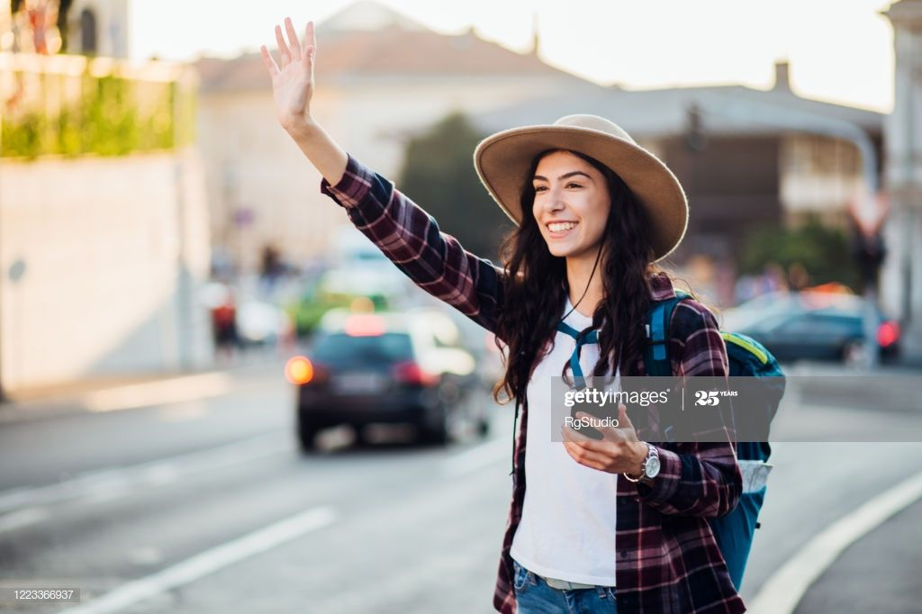 Female Tourist Catching A Ride Photography #Ad, , #spon, #Tourist, #Female, #Catching, #Photography