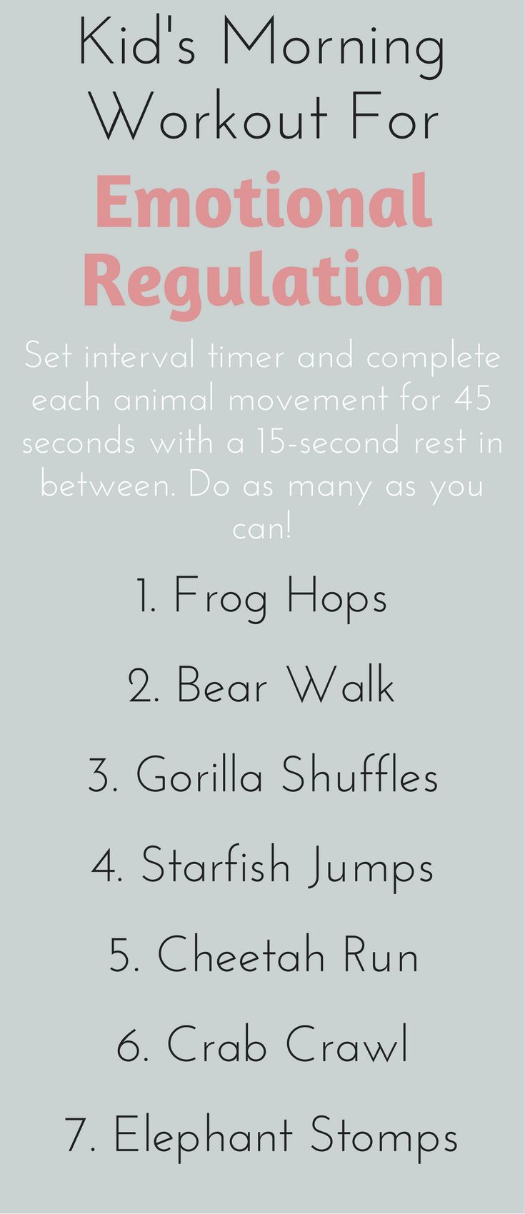 Improve your kid's emotional regulation in just 7 minutes a day with these animal-themed exercises