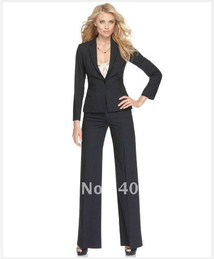 Ladies Suit Black Women Suit Long Sleeve Single Button Jacket ...