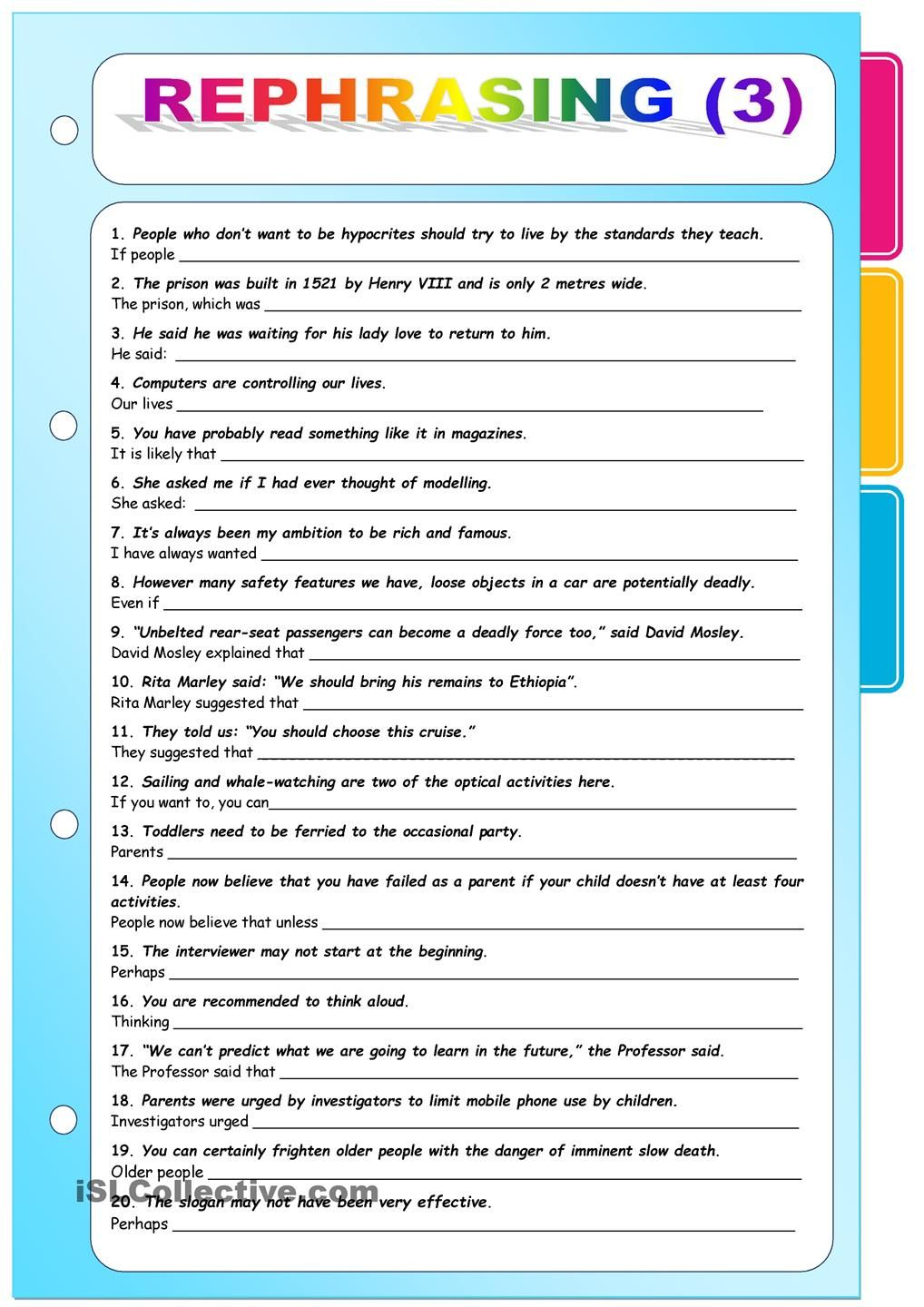 Rephrasing 3 [Key included] | English Class | Pinterest | Englisch