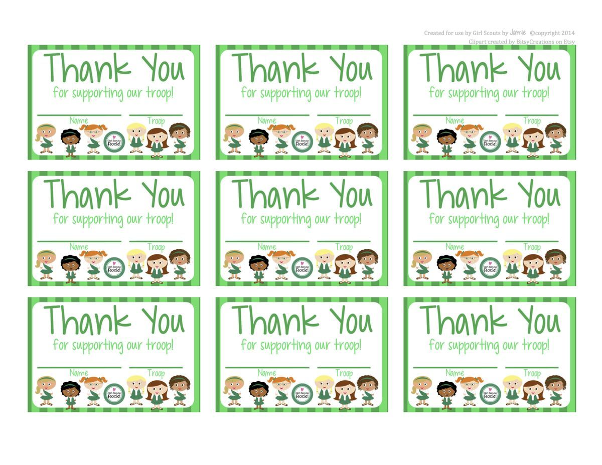 fashionable moms girl scouts   free printable thank you