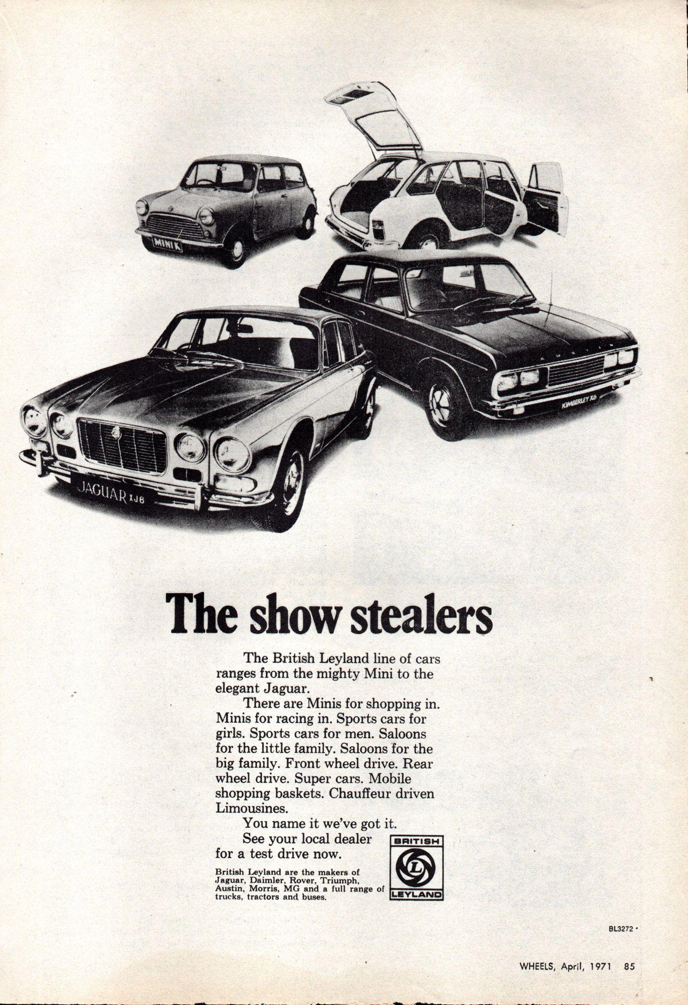 1971 British Leyland Morris Mini Austin Maxi 5 Door Austin Kimmberley X6 Sedan Jaguar Xj6 Aussie Original Magazine Advertisement Leyland Automobile Advertising Australian Cars