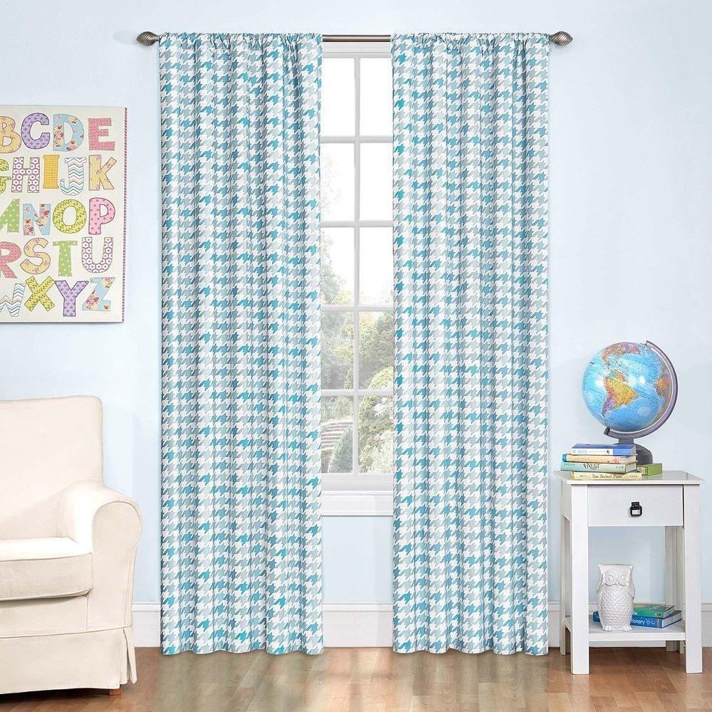 Zane Houndstooth Blackout Window 84-Inch Curtain Panel
