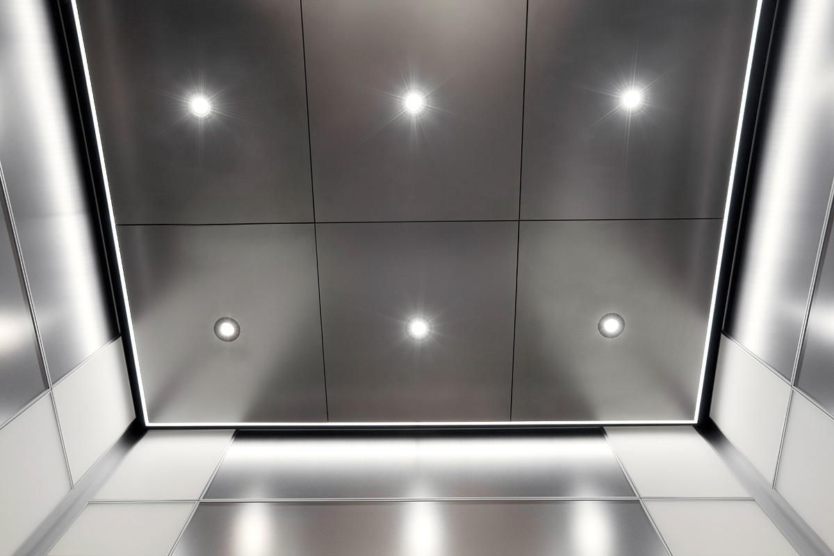 Elevator ceiling in stainless steel with seastone finish led elevator ceiling in stainless steel with seastone finish led downlights led perimiter lighting mirror ceilingceiling tilesdownlights dailygadgetfo Image collections