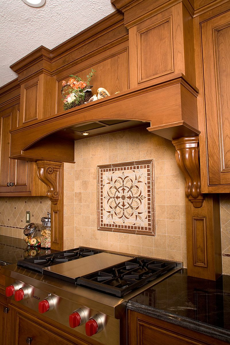 Mullet Cabinet   French Country Kitchen Featuring Warm Cherry Wood Tones.