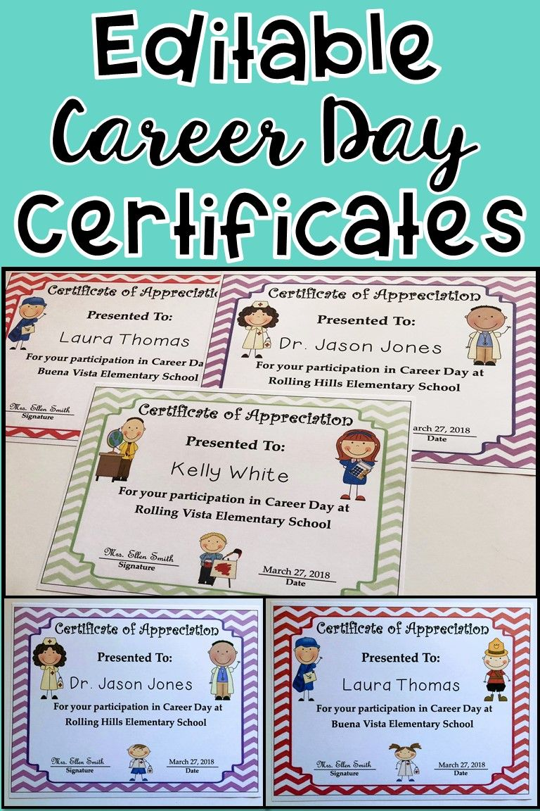 Career day awardscertificates editable pinterest printable use these career day printable certificates to say thank you to your career day volunteers yelopaper