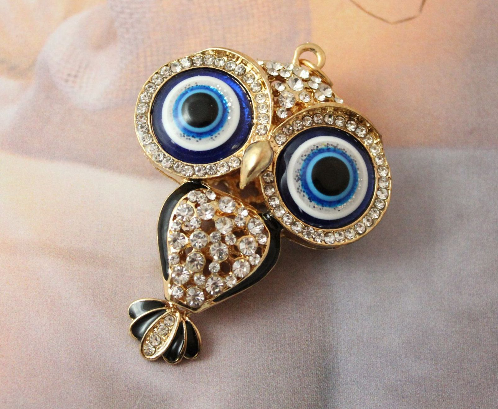 Adorable Cute Gold Tone Colorful Crystal Rhinestone Owl Bird Pendant Necklace
