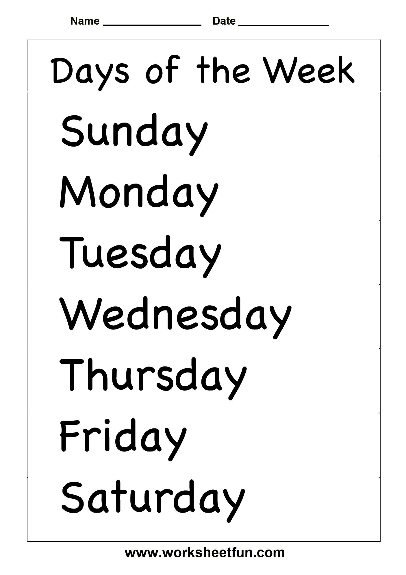 days of the week | Free printable worksheets, Weather ...