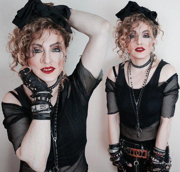 80er Mottoparty Outfit Madonna Netzbluse Schwarz Oberteil Kostüm