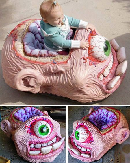 This incredibly detailed baby monster car was made by Elmer Presslee