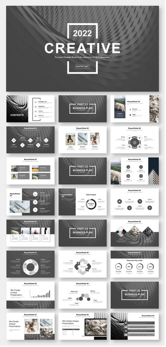 Black & White Simple Business Report PowerPoint Template