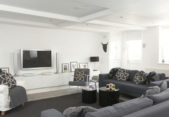 Gray Contemporary Modern Family Room