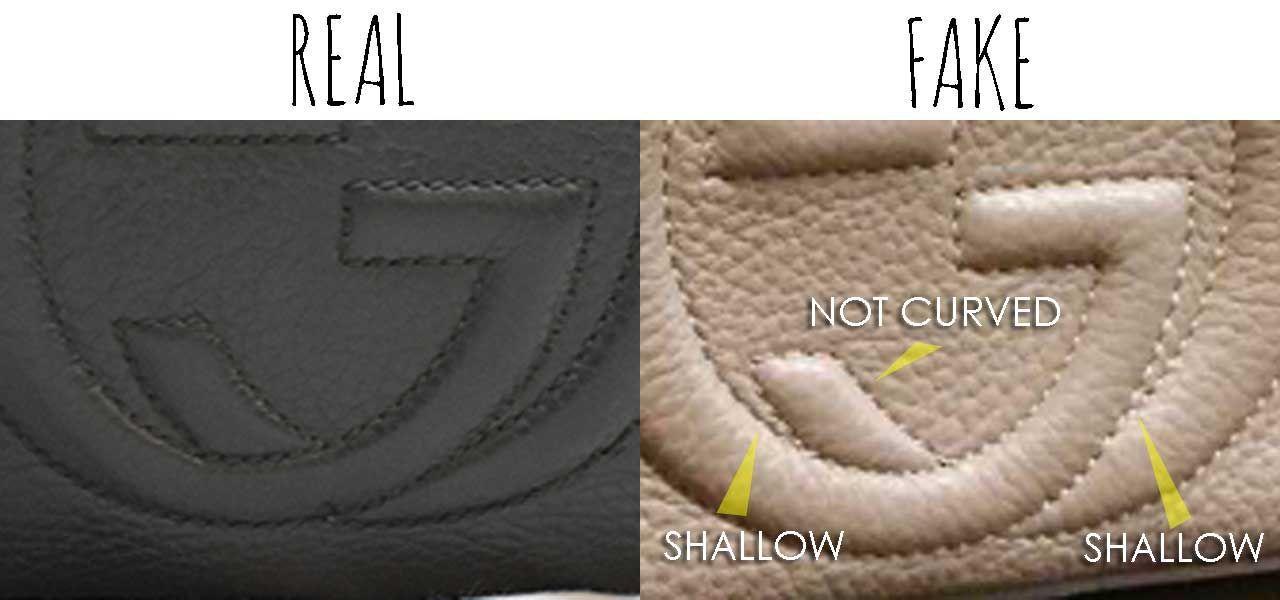 Gg interlocking details comparing a real vs fake gucci