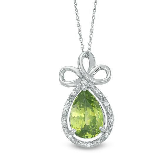 Zales Pear-Shaped Peridot and Diamond Accent Loop Pendant in Sterling Silver NxBE3qtKt