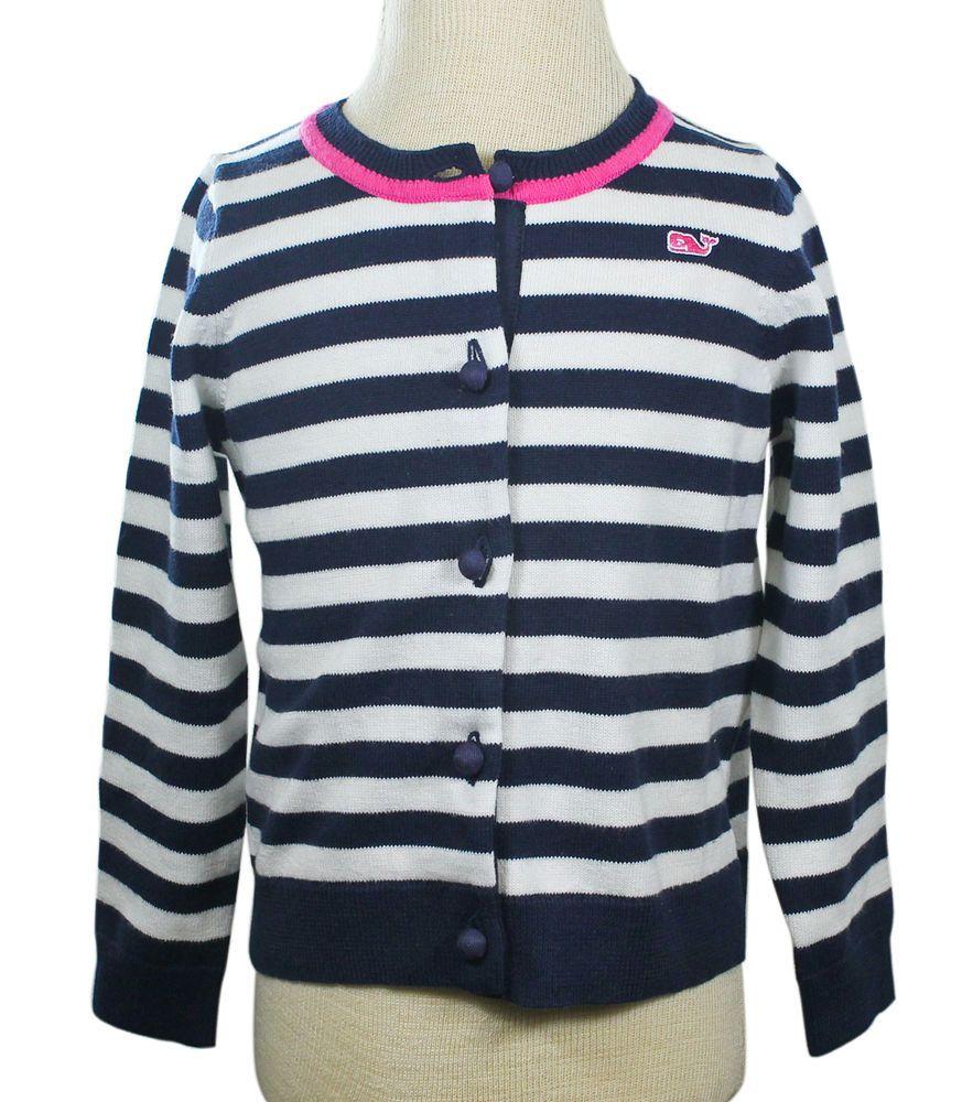 Vineyard Vines Girls Blue Blazer Navy Pink Sweater Striped