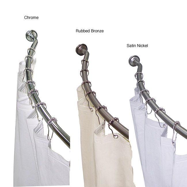 This adjustable shower rod features a curved design to allow more ...