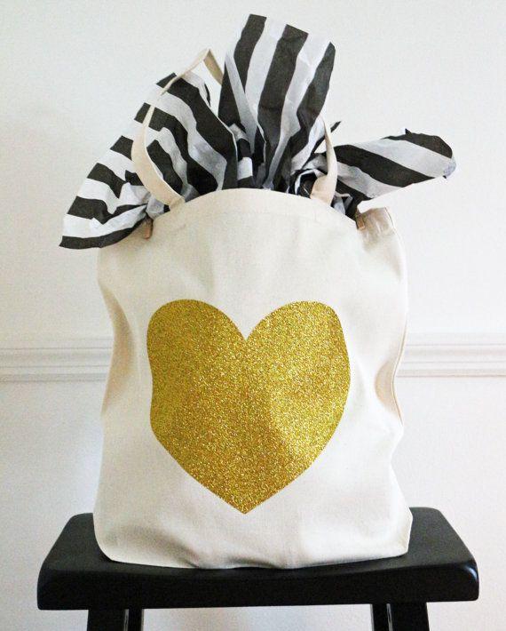 Bridesmaid Gift Canvas Tote Bag Gold Glitter Heart Purse