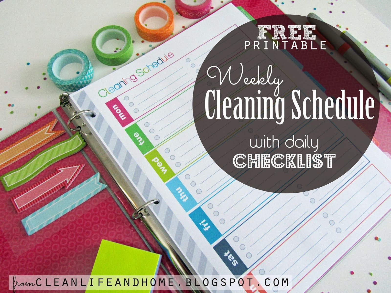 Free Printable Weekly Cleaning Schedule And Daily