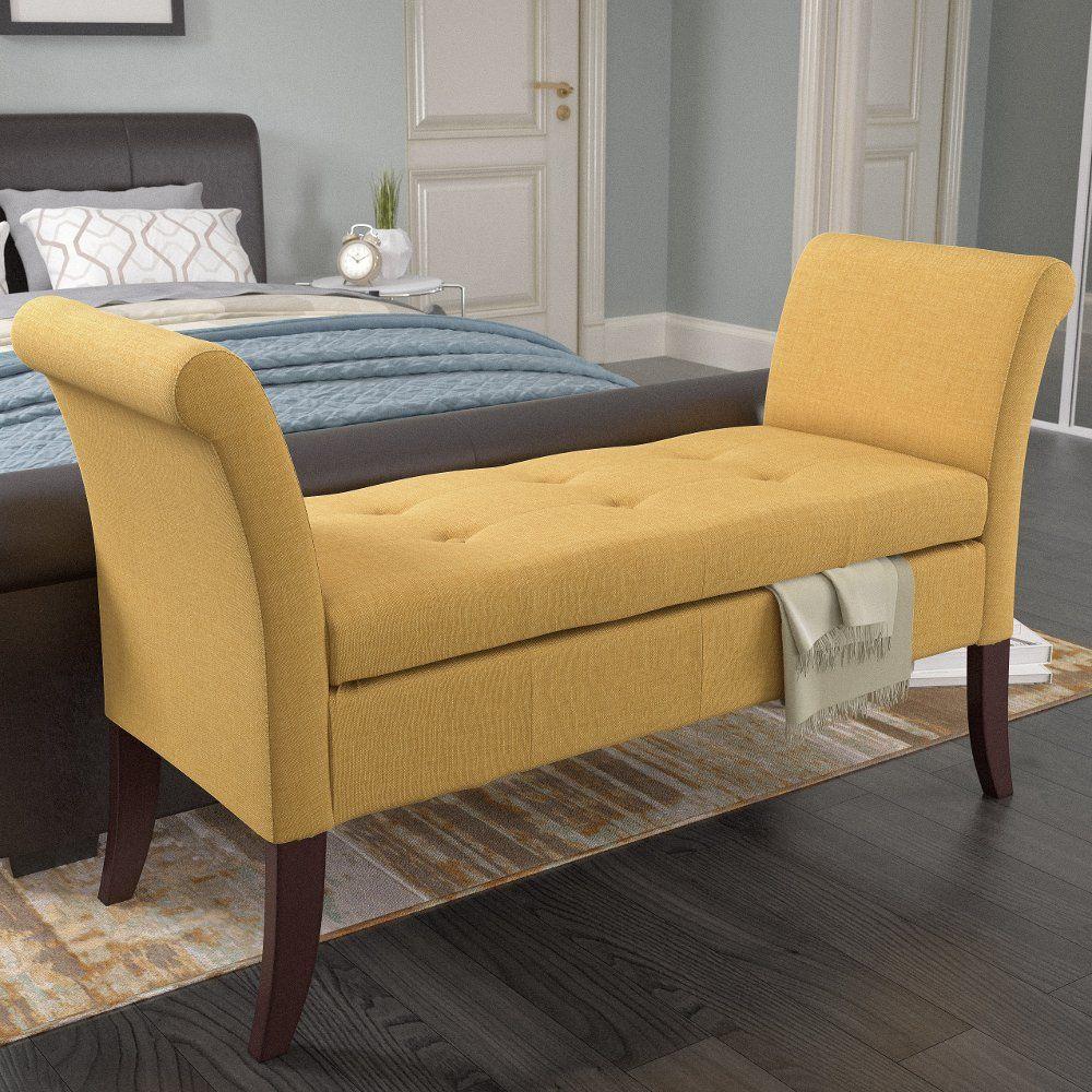 Yellow Scrolled Arm Storage Bench Antonio Upholstered Storage Bench Upholstered Storage Indoor Storage Bench