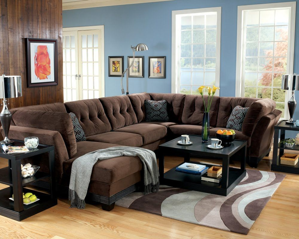 dark brown microfiber sofa similar to ours - i ike the blue pillow