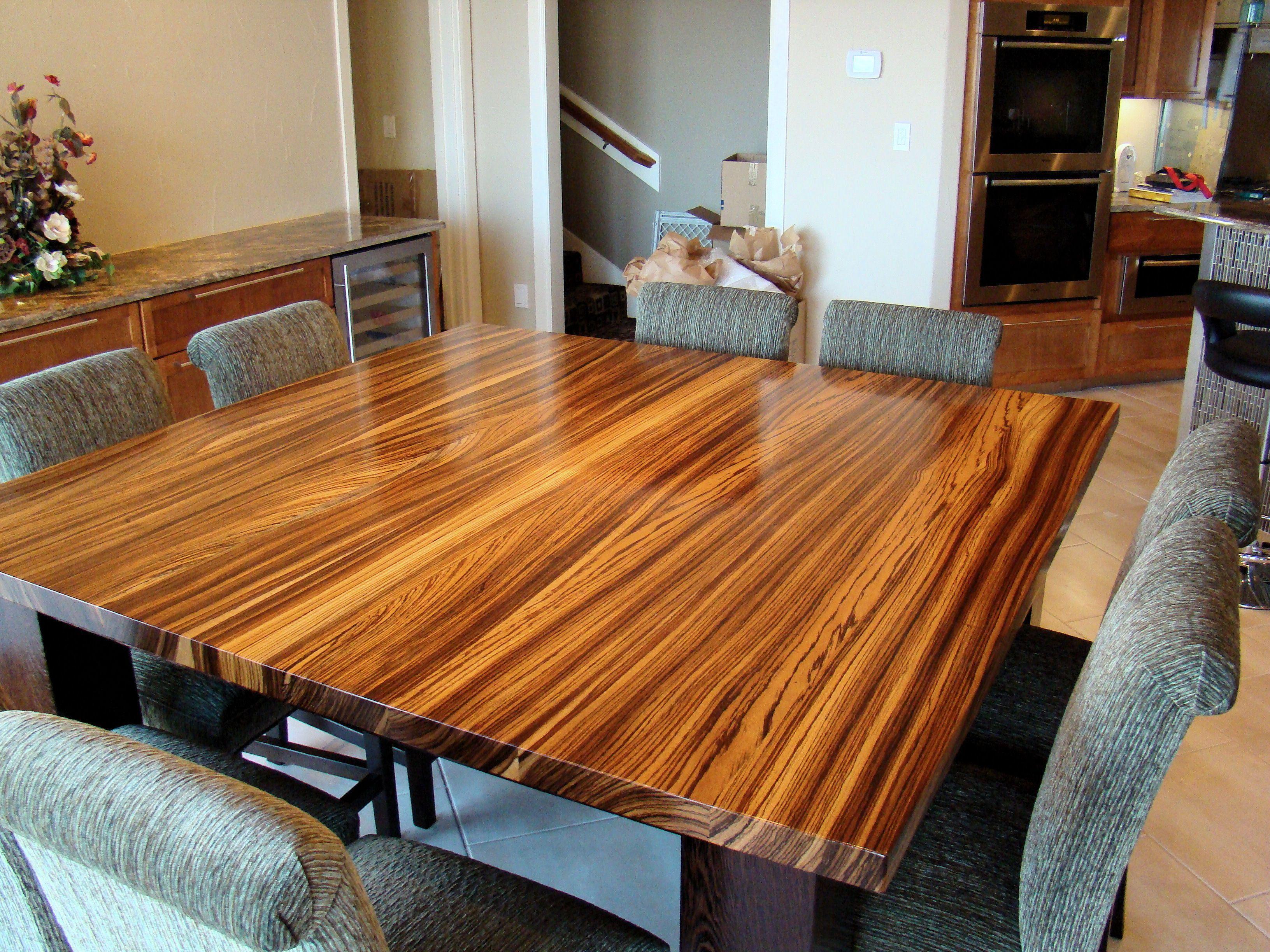 Custom Zebrawood Table With A Solid Wenge Base This Table