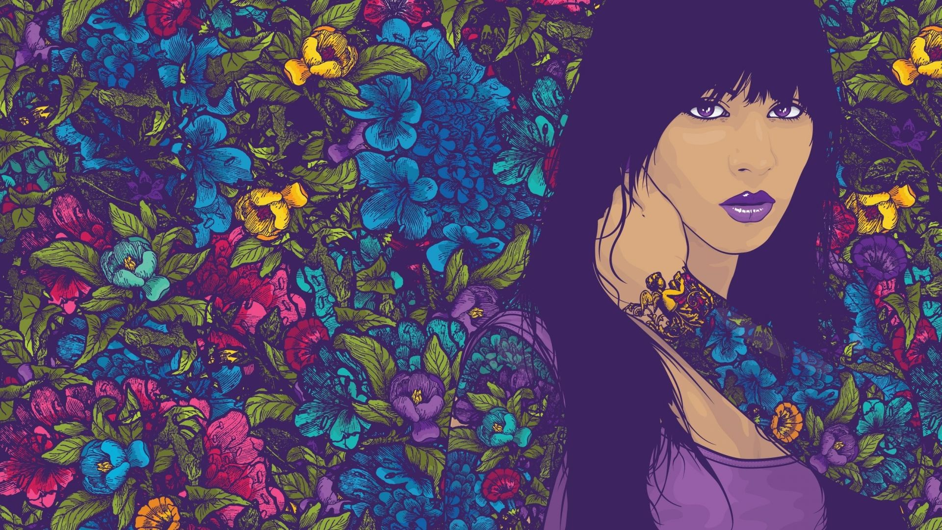 Wallpaper 1920x1080 Full Hd 1080p 1080i Vector Woman Purple