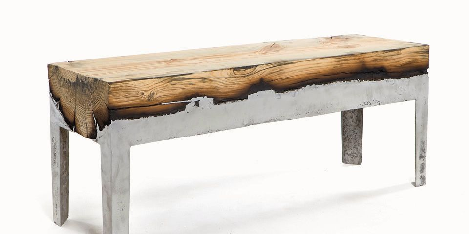 Furniture combining cast aluminium and wood  The negative factor of burnt  wood is transformed into aesthetic and emotional value by preservation of  the. Hilla Shamia s wood casted side tables  benches  stools and coffee