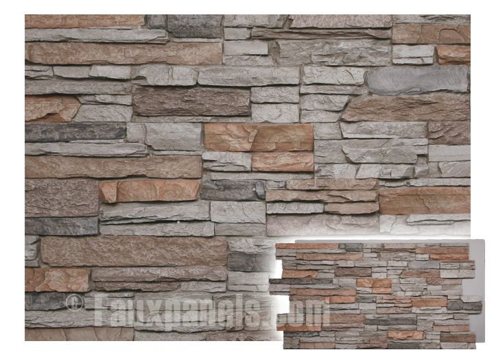 Norwich colorado stacked stone motley gray panel for the - Faux stacked stone interior walls ...