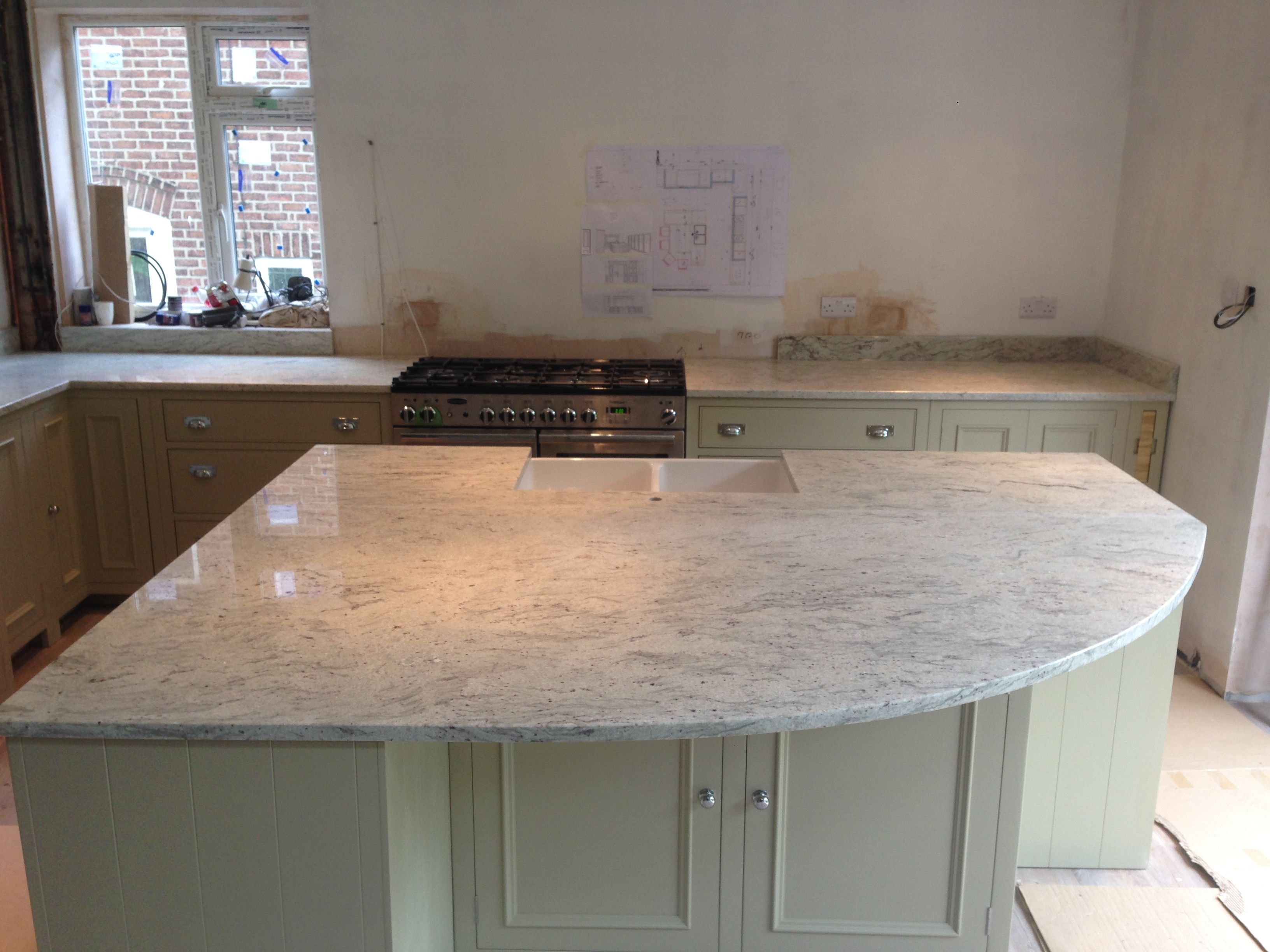 This Gorgeous River Valley White Granite Solid Kitchen