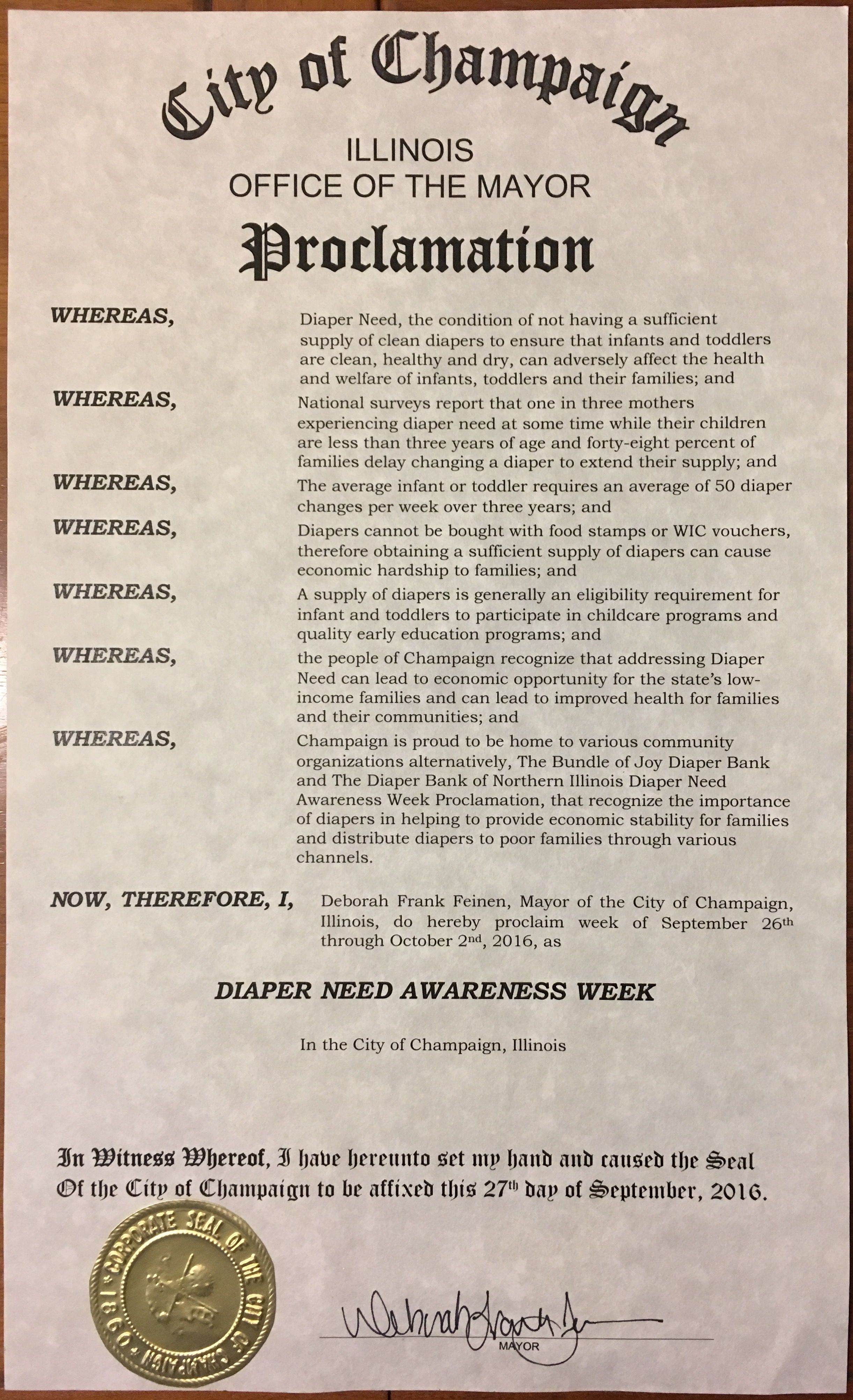 CHAMPAIGN, IL -Mayoral proclamation recognizing Diaper Need Awareness Week (Sep. 26-Oct. 2, 2016) #DiaperNeed Diaperneed.org