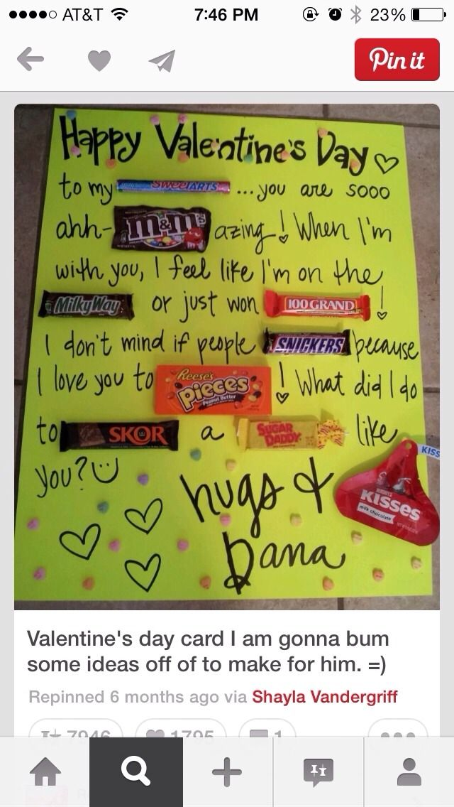 Poster Board Walgreens walmart etc Markers Candy – Special Valentine Cards for Him