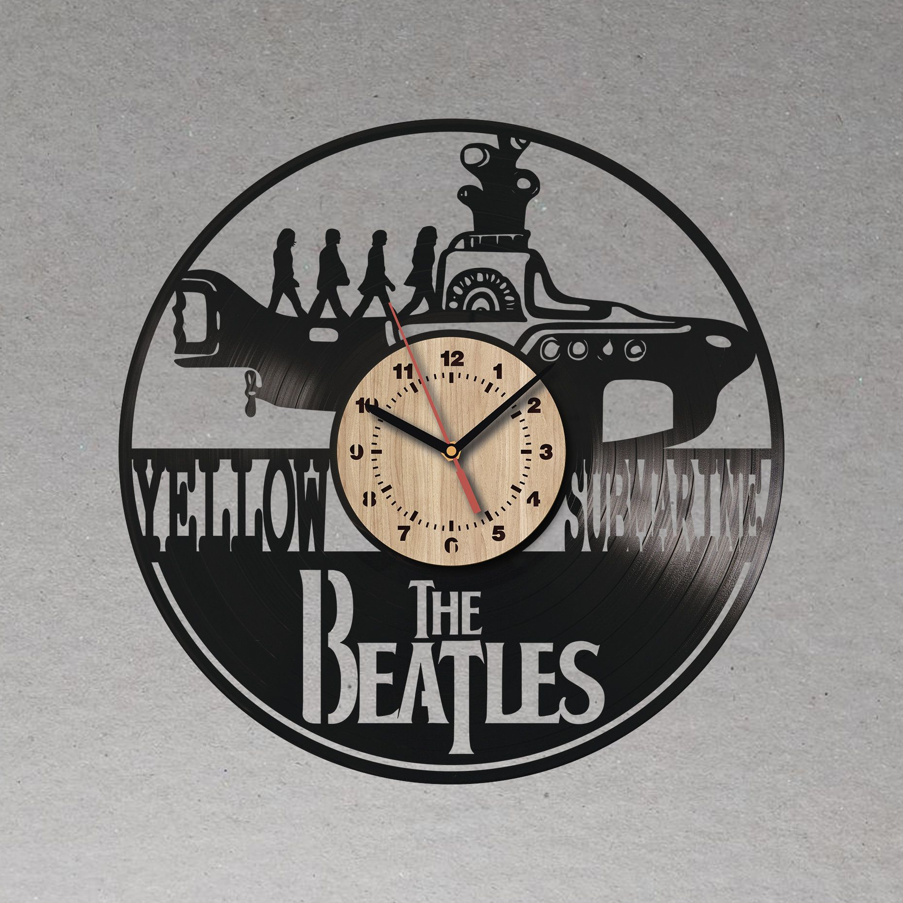 The Beatles Handmade Vinyl Wall Clock With Wooden Dial Original Home Decor Vinyl Wall Clock For Bedroom Origin In 2020 Bedroom Wall Clock Vinyl Record Clock Wall Clock