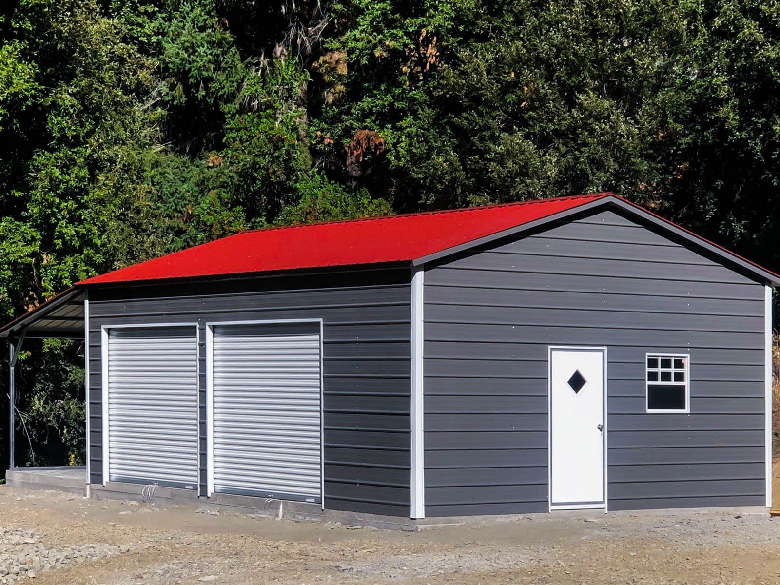 Quaker Gray Red Top Garage With A Porch 20 W X 31 L X 10 H Main Unit 12 Gauge Galvanized Tubinga Frame Vertical Roof10 W X 21 L X 8 Garage Red Top Red Barns