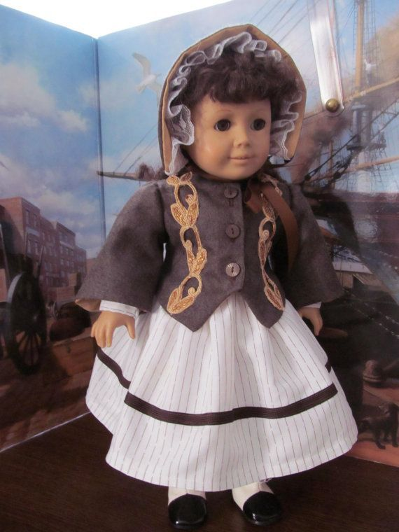 Doll Clothes, Historical Dress, Bonnet and Coat, 18 Inch Doll Clothes,  #Bonnet #clothes #coa... #historicaldollclothes