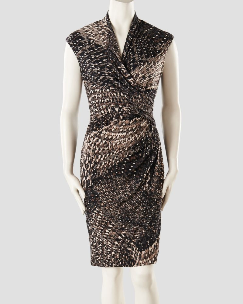 Cap Sleeve Mosaic Print Faux Wrap Dress Main View Chic Outfits Faux Wrap Dress Dresses For Work [ 1000 x 800 Pixel ]