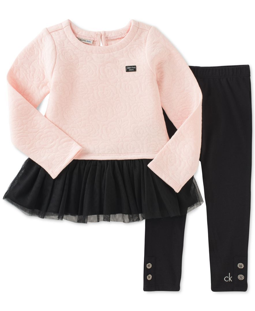20e5435c030 Calvin Klein Little Girls' 2-Pc. Tutu-Hem Top & Leggings Set ...
