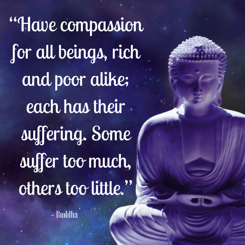 """Have compassion for all beings, rich and poor alike; each"
