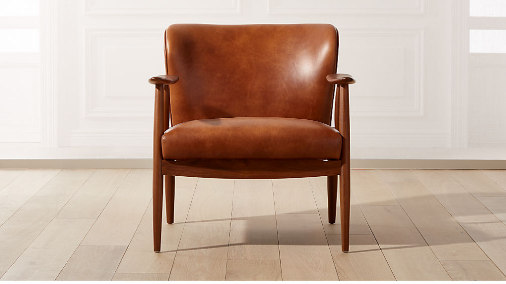 Troubadour Saddle Leather Wood Frame Chair Reviews Cb2 Brown
