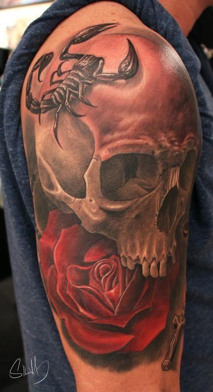 Custome Skull Scorpion Rose Tattoo By Marvin Silva Tattoonow