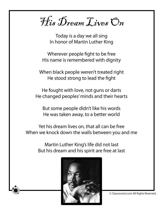 Kids Poems for Black History Month Kids Poem, Martin Luther King Jr ...