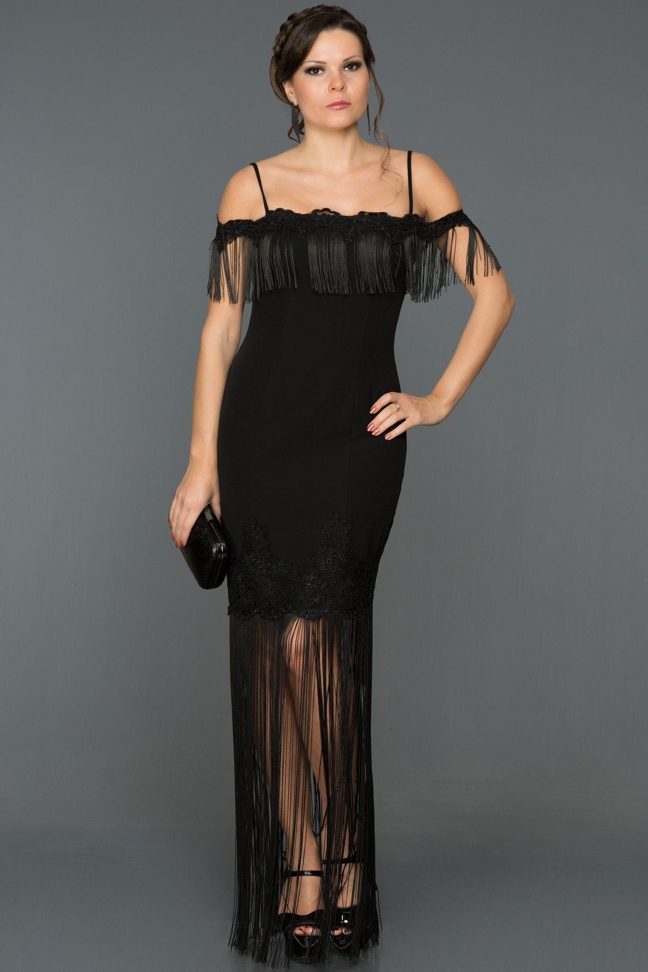 Siyah Puskullu Gece Elbisesi Ds454 Giyim Elbise Moda Stilleri