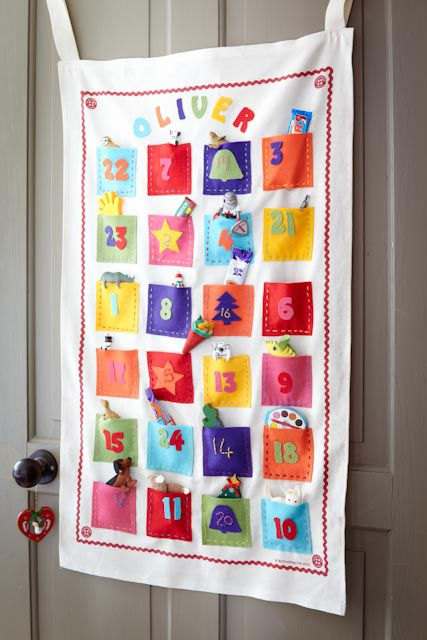 like the idea of stuck on felt numbers as opposed to me sitting for hours stitching them - and the tape to hang it with...or a pole ??