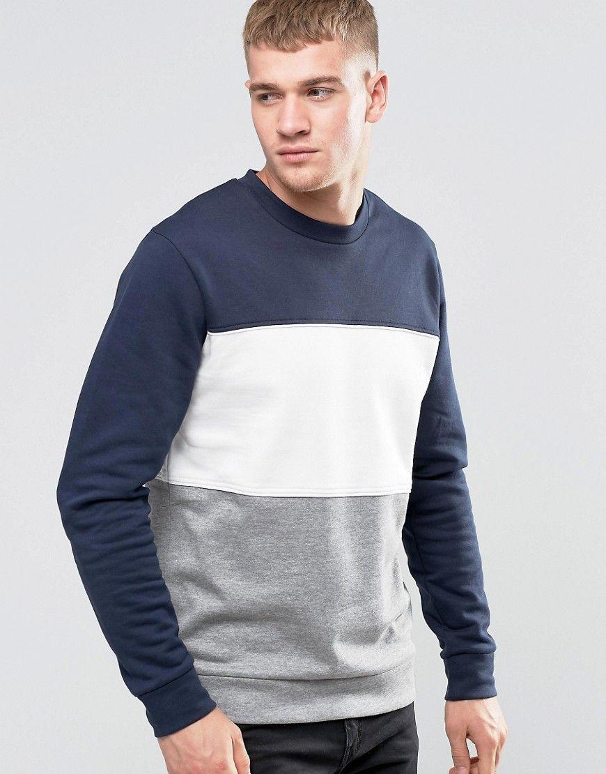 Image 1 Of Jack Jones Block Panel Sweat Mens Sweatshirts Hoodie Hoodies Men Long Sleeve Tshirt Men [ 1110 x 870 Pixel ]