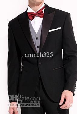 Red Tie Black Men's Formal Dress best man Suit Wedding Suit ...