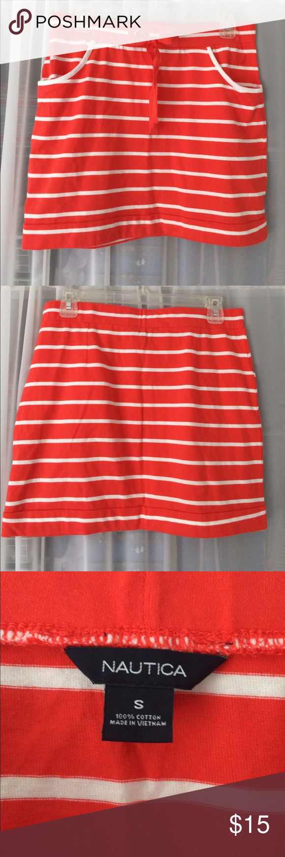 Nautica striped knit skirt Orange and white striped skirt from nautica. 100% cotton. Worn lighty, in great condition, has pockets and a drawstring tie around the waist Nautica Skirts