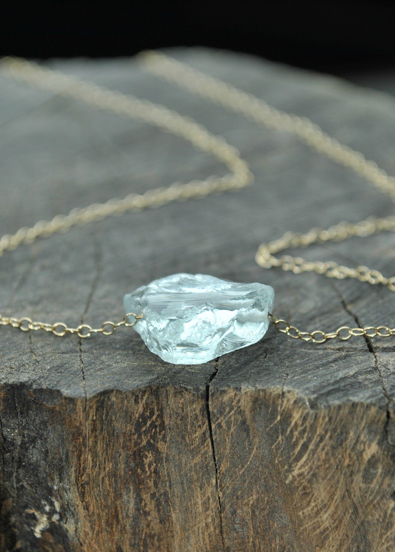 Raw Aquamarine Necklace 14k Gold Filled Raw Gemstone Etsy Raw Gemstone Jewelry Crystal Necklace Diamond Bar Necklace