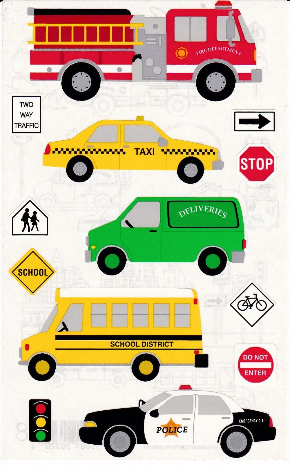 Mrs Grossman S Giant Stickers Vehicles Taxi Bus Firetruck 2 Strips Fire Trucks Car Graphics Vehicles [ 1600 x 1000 Pixel ]